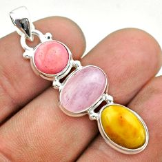 11.57cts 3 stone natural yellow amber bone kunzite opal silver pendant t55006