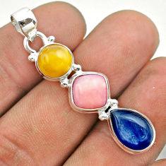11.13cts 3 stone natural yellow amber bone kyanite opal silver pendant t55034