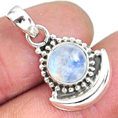 3.04ct natural rainbow moonstone 925 sterling silver moon pendant jewelry r89435