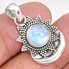 3.11ct natural rainbow moonstone 925 sterling silver moon pendant jewelry r89490