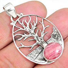 4.17ct rhodochrosite inca rose argentina 925 silver tree of life pendant r90422