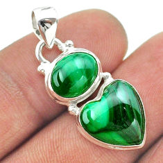 925 silver 10.74cts 2 stone malachite (pilot's stone) heart pendant t55152