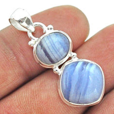 925 silver 9.47cts 2 stone natural blue lace agate cushion pendant t55213