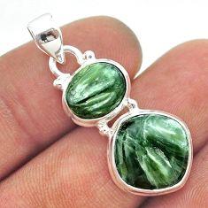 925 silver 10.71cts 2 stone natural green seraphinite (russian) pendant t55230