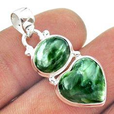925 silver 9.59cts 2 stone natural green seraphinite heart pendant t55164