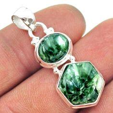 925 silver 10.71cts 2 stone natural green seraphinite hexagon pendant t55225