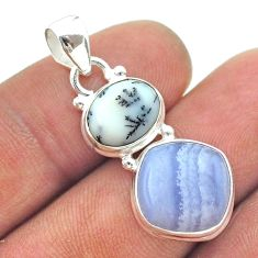 925 silver 9.61cts 2 stone natural lace agate dendrite opal pendant t55156