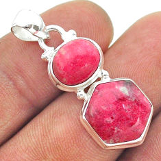 925 silver 9.98cts 2 stone natural pink thulite hexagon pendant jewelry t55220