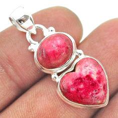 925 silver 9.57cts 2 stone thulite (unionite, pink zoisite) heart pendant t55218