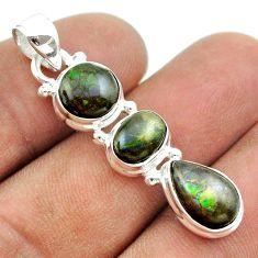 925 silver 9.86cts 3 stone multi color ammolite (canadian) pear pendant t54954