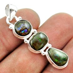 925 silver 10.32cts 3 stone natural ammolite (canadian) fancy pendant t54957