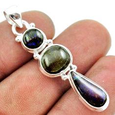 925 silver 10.32cts 3 stone natural multi color ammolite pendant jewelry t54951