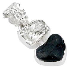 925 silver 8.87ct natural black tourmaline rough herkimer diamond pendant t20964