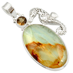 925 silver 31.00cts aquatine lemurian calcite oval seahorse pendant d42038