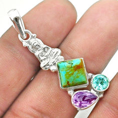 925 silver arizona mohave turquoise amethyst topaz buddha charm pendant t51274