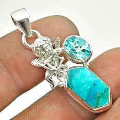 925 silver 7.17cts arizona mohave turquoise hexagon topaz angel pendant t55355