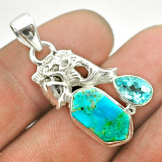 925 silver 6.98cts arizona mohave turquoise hexagon topaz fish pendant t55339