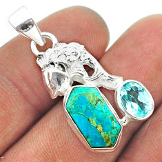 925 silver 7.79cts arizona mohave turquoise hexagon topaz fish pendant t55376