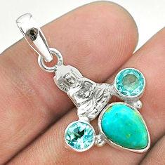 925 silver 4.67cts arizona mohave turquoise topaz buddha charm pendant t51275