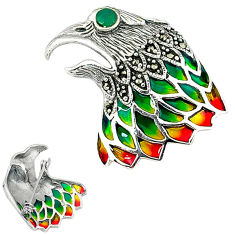 925 silver art nouveau green emerald marcasite enamel brooch pendant c20829