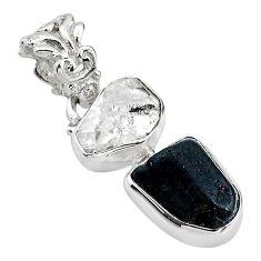 925 silver 8.87cts black tourmaline rough herkimer diamond pendant t20970