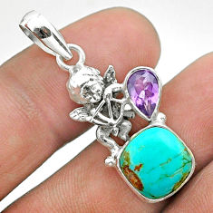 925 silver 6.83cts blue arizona mohave turquoise amethyst angel pendant t51266