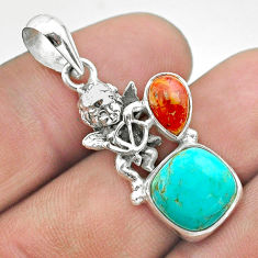 925 silver 6.26cts blue arizona mohave turquoise coral angel pendant t51277