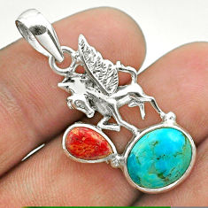 925 silver 6.43cts blue arizona mohave turquoise coral unicorn pendant t51273