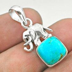 925 silver 5.52cts blue arizona mohave turquoise cushion elephant pendant t51329
