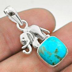 925 silver 5.22cts blue arizona mohave turquoise cushion elephant pendant t51333