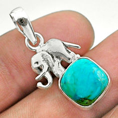 925 silver 5.21cts blue arizona mohave turquoise cushion elephant pendant t51337
