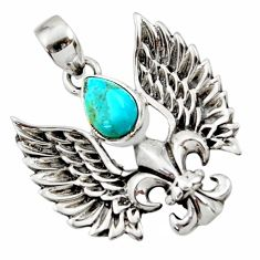 925 silver 2.33cts blue arizona mohave turquoise feather charm pendant d44847