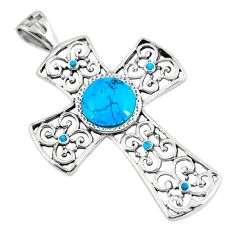 925 silver 4.13cts blue arizona mohave turquoise holy cross pendant c10780