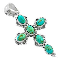 925 silver 5.81cts blue arizona mohave turquoise holy cross pendant t52966
