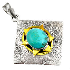 925 silver 5.43cts blue arizona mohave turquoise oval 14k gold pendant d39128