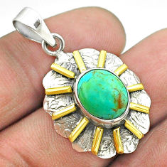 925 silver 5.16cts blue arizona mohave turquoise oval 14k gold pendant t55668