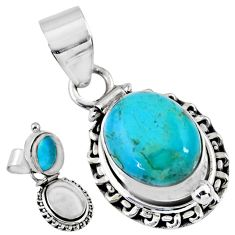 925 silver 5.41cts blue arizona mohave turquoise oval poison box pendant r55643