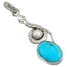 925 silver 11.57cts blue arizona mohave turquoise pearl snake pendant d47271
