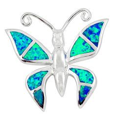 925 silver blue australian opal (lab) enamel butterfly pendant jewelry c15704