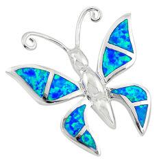 925 silver blue australian opal (lab) enamel butterfly pendant a74248 c24456