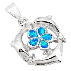 925 silver blue australian opal (lab) enamel dolphin pendant jewelry c15651