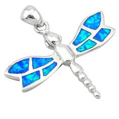 925 silver blue australian opal (lab) enamel dragonfly pendant jewelry c25852