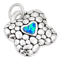 925 silver 0.74cts blue australian opal (lab) heart pendant a92721 c24357