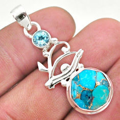925 silver 6.33cts blue copper turquoise hexagon topaz horse eye pendant t46427