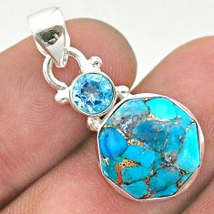 925 silver 6.24cts blue copper turquoise hexagon topaz pendant jewelry t46448