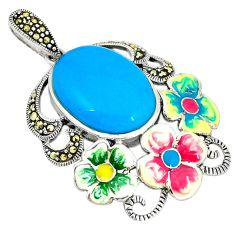925 silver blue sleeping beauty turquoise marcasite enamel pendant c21473