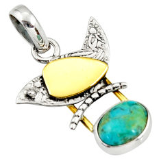 925 silver 4.06cts blue sleeping beauty turquoise oval 14k gold pendant r37124