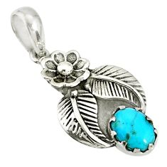 925 silver 1.96cts blue sleeping beauty turquoise oval flower pendant r77755
