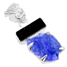 925 silver 14.23cts blue tanzanite raw tourmaline rough fancy pendant r83024