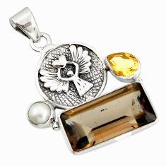 925 silver 10.54cts brown smoky topaz citrine pearl eagle charm pendant r20520